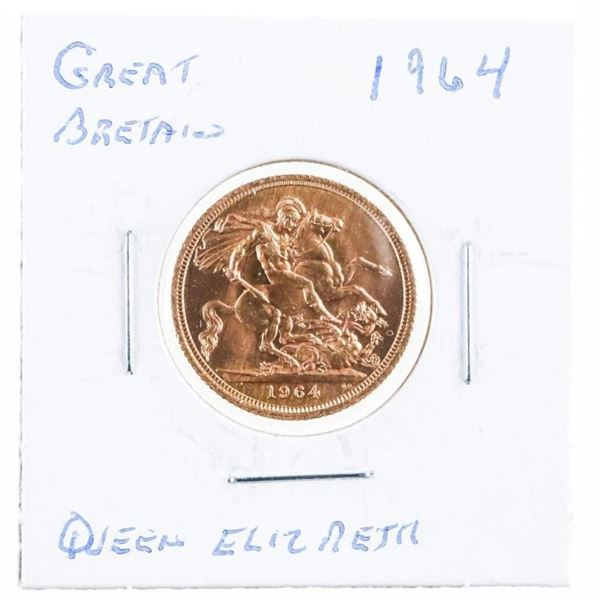 Great Britain 1964 Gold Sovereign .917 Fine  7.9881 Grams