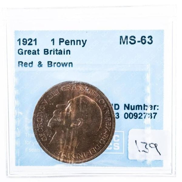 1921 Great Britain Penny Red  brown