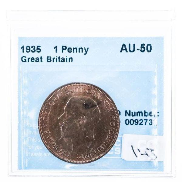 1935 Great Britain Penny AU-55 CCCS
