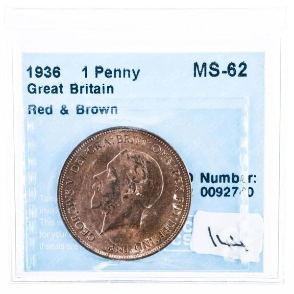 1936 Great Britain Penny Red  Brown  MS-62 CCCS