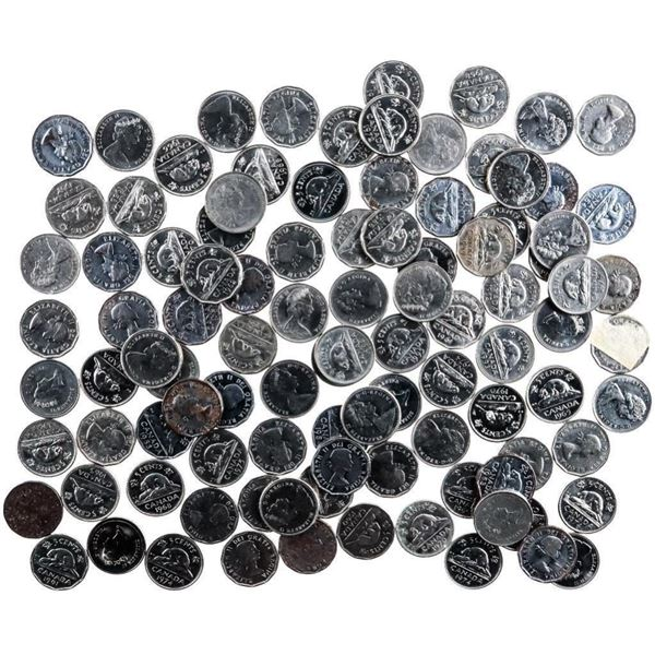 Bag/Lot 100 Canadian Nickels Queen Elizabeth