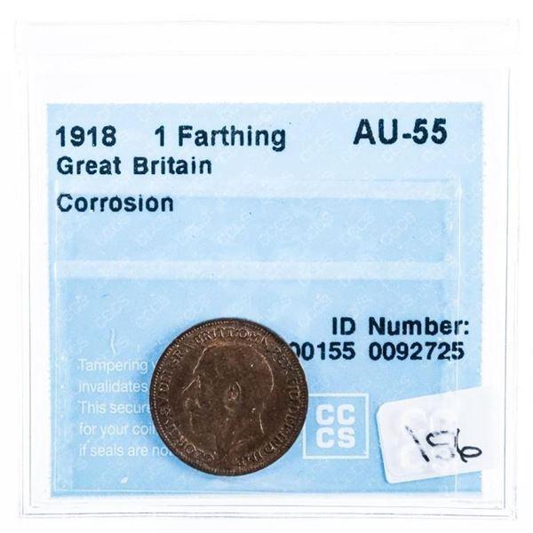 1918 Great Britain 1 Farthing AU -55 CCCS