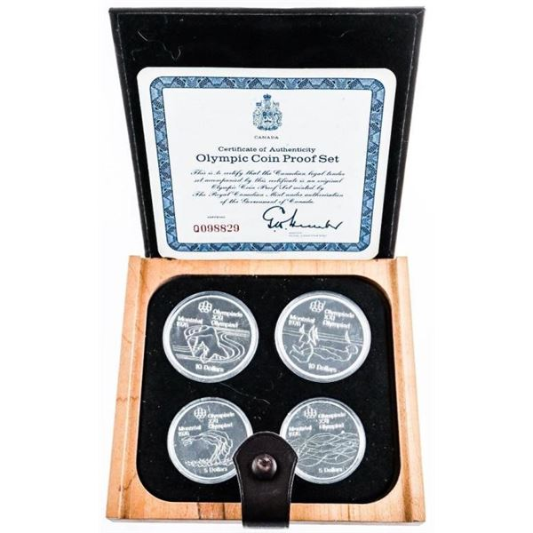 1976 Sterling Silver PROOF Olympic 4- Coin  Set Wood Case