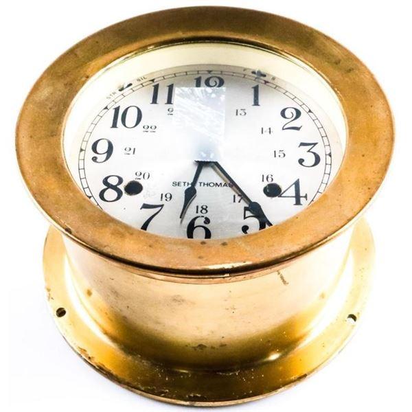 "Estate ""SETH THOMAS"" Brass Ships Clock with  Ket"