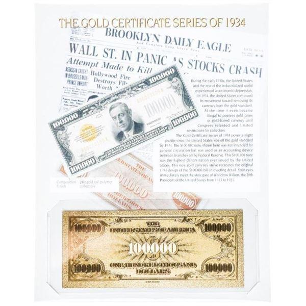 USA $100.000 GOLD Certificate w/8 x 10 Giclee  Art Card