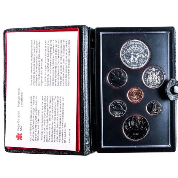 1980 RCM Proof Double Dollar Coin Set w/  Silver Dollar Black Leather Case