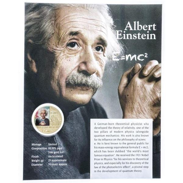 ALBERT EINSTEIN Gold Medallion with Giclee  Art Card 8x10