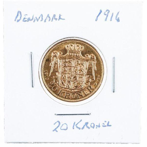 Denmark 1916 20 Kroner Gold Coin