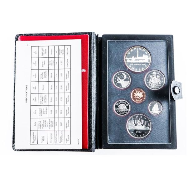 1984 RCM Proof Double Dollar Coin Set w/  Silver Dollar Black Leather Case