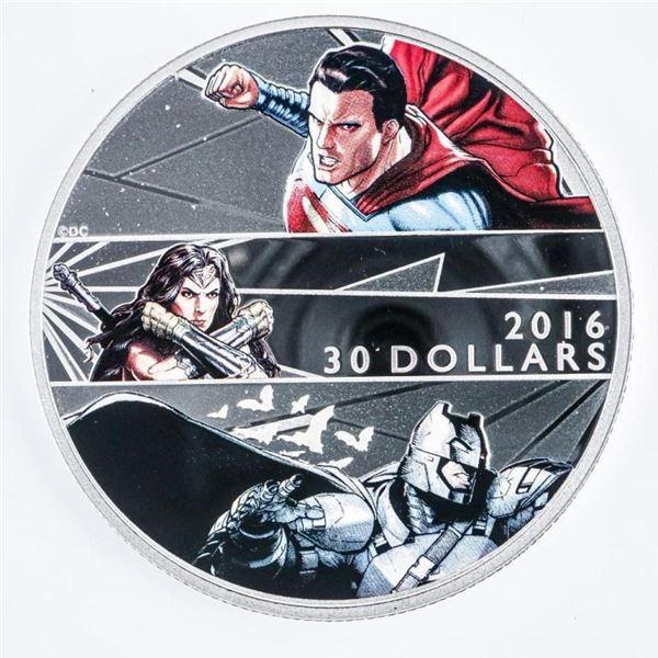 RCM 2016 Fine Silver $30 Batman v, Superman -  Dawn of Justice in Display Box