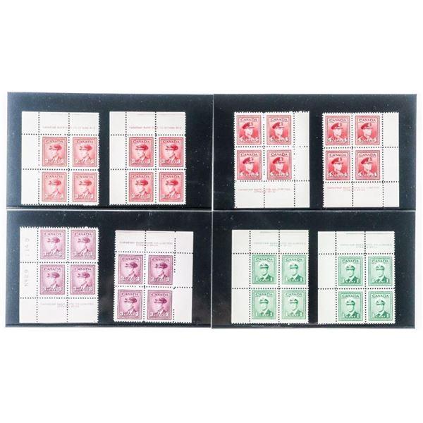 Group of 8 Canada Stamps - Original Blocks of  4 x 8 Blocks
