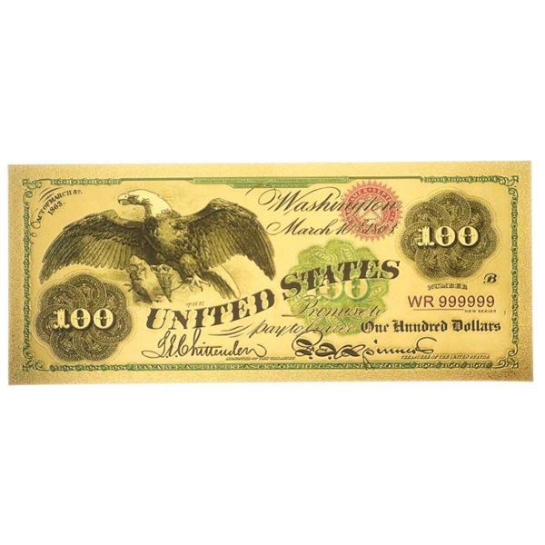 USA First Green Backs - 24Kt Gold Foil  Collectible Note w/ 8 x 10 Giclee Art card