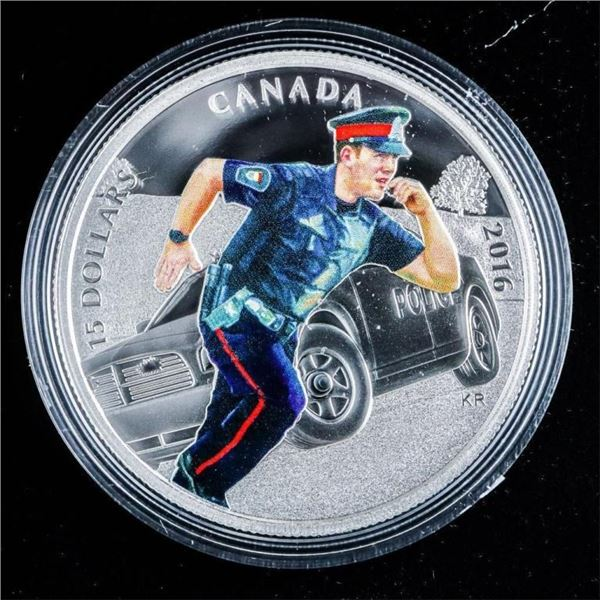 RCM 2016 Fine Silver $15 National Heroes  Police Coin - Sold Out