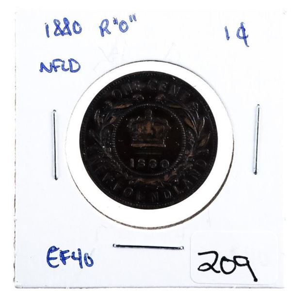"""1880 R """"O"""" NFLD Large One Cent"""