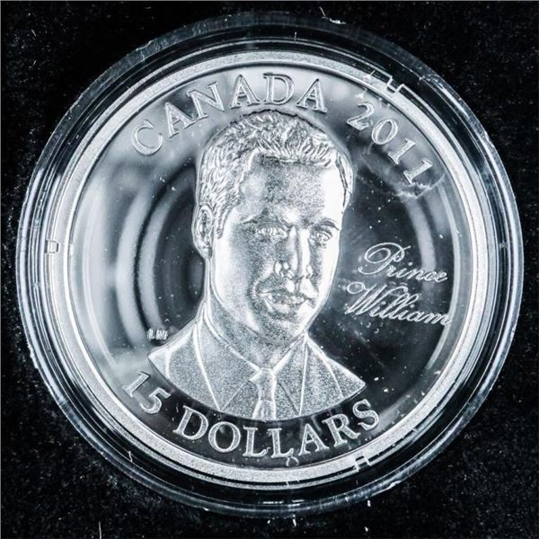 RCM 2011 925 Sterling Silver $15 Prince  William of Wales Coin Raised Vignette