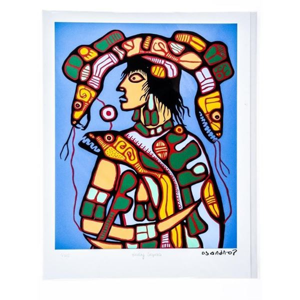 """Norval Morrisseau -Dreamscapes Suite- Giclee  - """"Healing Serpents"""" Cree Syllabic Signature  in Plate"""