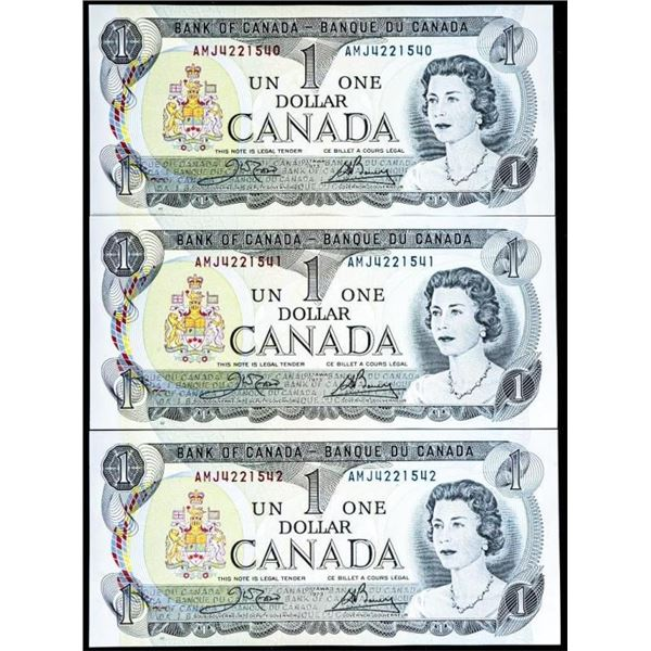 Lot 3 1973 Canada $1 In Sequence UNC -  Recalled in 2020 To be Destroyed