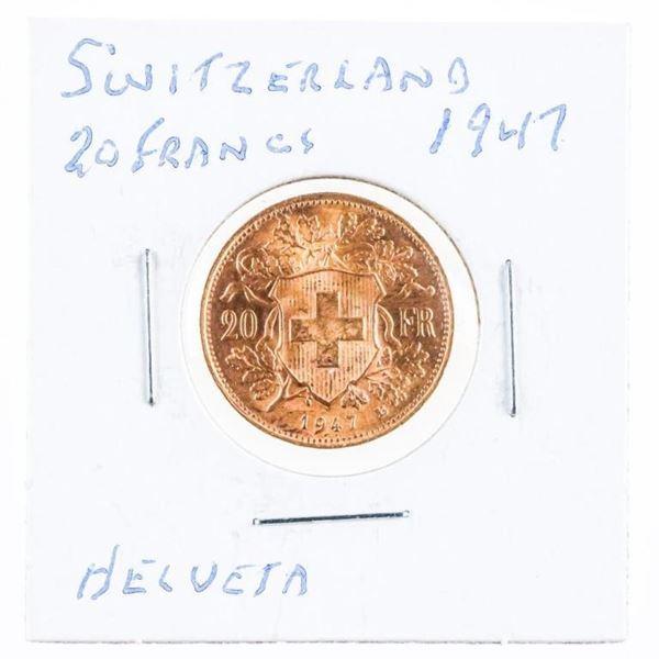 Switzerland 1947 20 Francs Helveta .900 Fine  Gold 6.4516 Grams