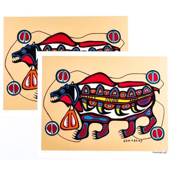 """Norval Morrisseau - Picasso of The North -  Giclee """"Scared Bear Healer"""" Plate Signed 11 x  14 Folio"""