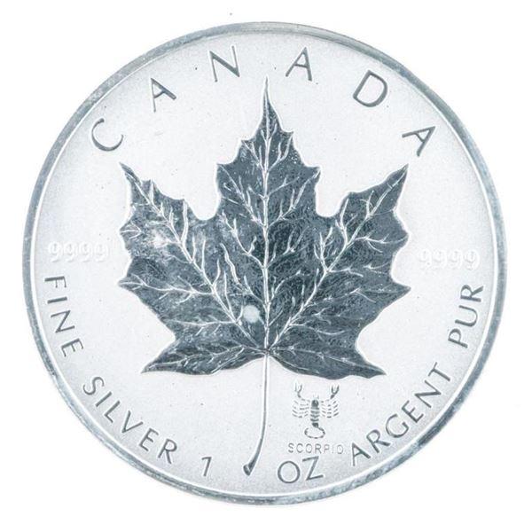 RCM 2004 Maple Leaf $5 Coin w/ Scorpio Privy  Mark, .9999 Fine Silver 1oz asw