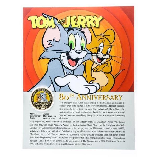 TOM & JERRY 80th Anniversary 24kt Gold Foil  Medallion & 8 x 10 Giclee Art Card
