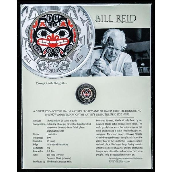 """RCM Celebrates 100 Years """"Bill Reid"""" Special  Issue $2 Coin w/ Colour Artwork, & 8 x 10  Giclee Art"""