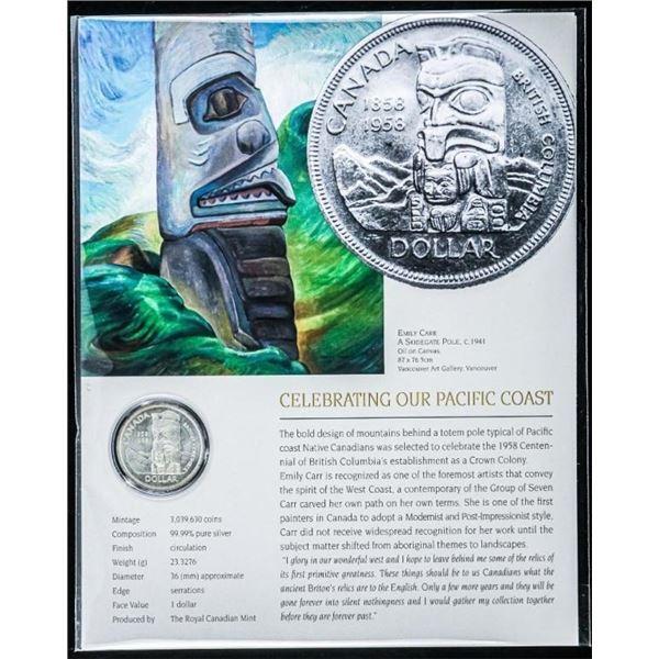 Canada 1958 Silver Dollar - Emily Carr w/8 x  10 Giclee Art card