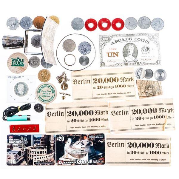 Estate Bag Lot Misc,Coins Paper Etc.