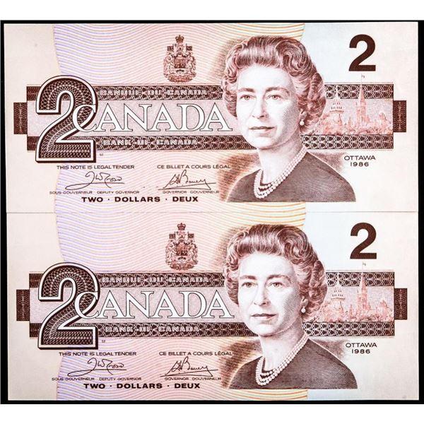 Lot 2 Bank of Canada 1986 $2 GEM (AUJ) Crow  Bouey