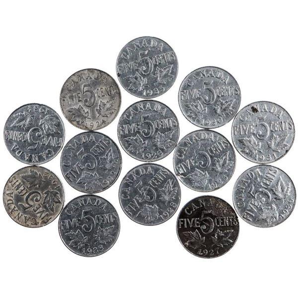 Group of 13 KING GEORGE Canada Nickels
