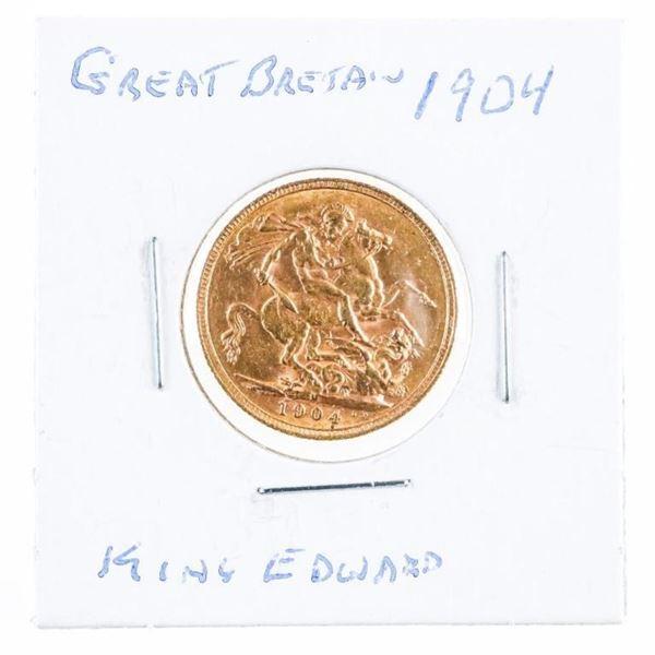 Great Britain 1904 King Edward Sovereign  -.917 Gold - 7.9881 Grams