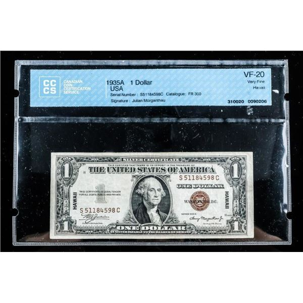 1935A USA Silver Certificate 1.00 - Hawaii  Small red Seal CCCS VF-20