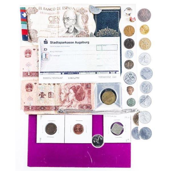 Estate Bag/Lot Coins, Medals, Jewellery Etc.