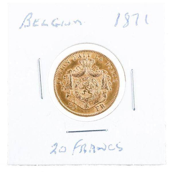 Belgium 1871 20 Francs Gold Coin