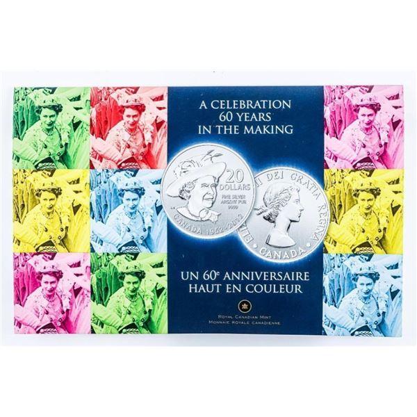 RCM 1952 -2012 60 Years Queen Elizabeth .999  Fine Silver $20.00 Coin