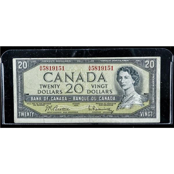 Bank of Canada 1954 $20 (AW) B/R Modified  Portrait