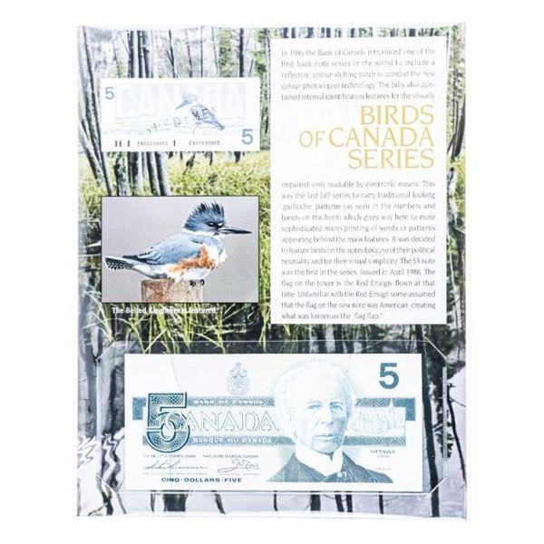 Bank of Canada 1986 $5 Bird Series Note w/8  x10 Giclee Art Card