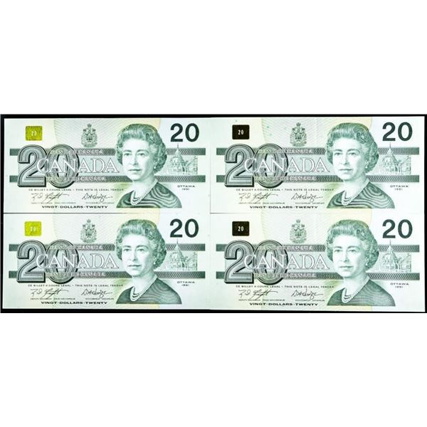 Lot 4 Bank of Canada 1991 $20 In Sequence