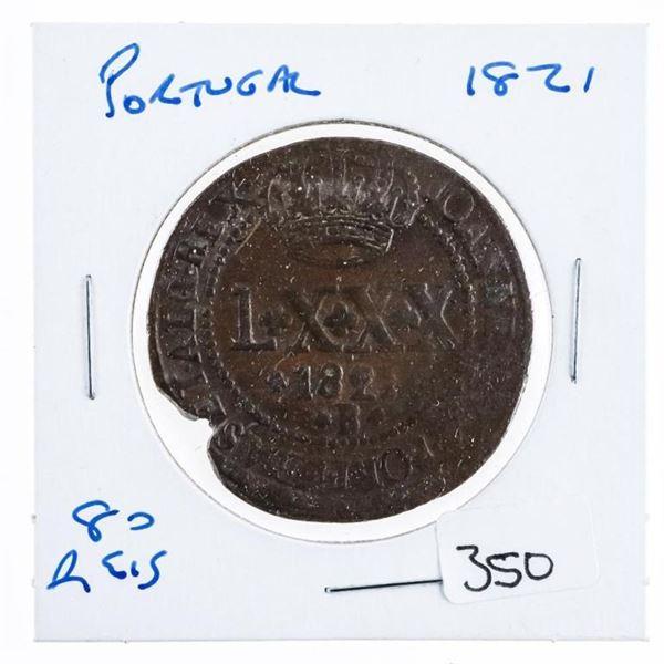 Portugal 1821 89 REIS Coin