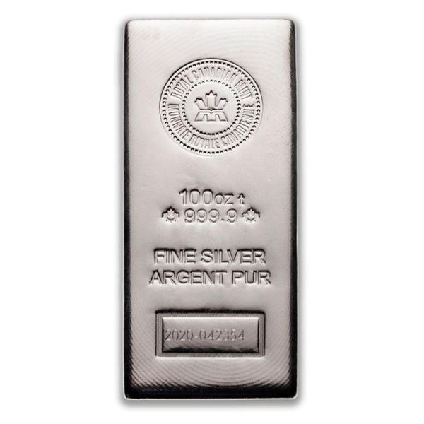 Prestige - Royal Canadian Mint .9999 Fine  Silver 100oz Hand Poured Maple Leaf Bar.  Serialized. Ver