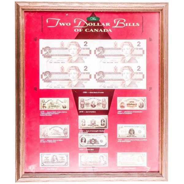 Two Dollar Bills Of Canada Collector Frame  -Uncut Sheet 4 1986 $2 Framed 16 x 20