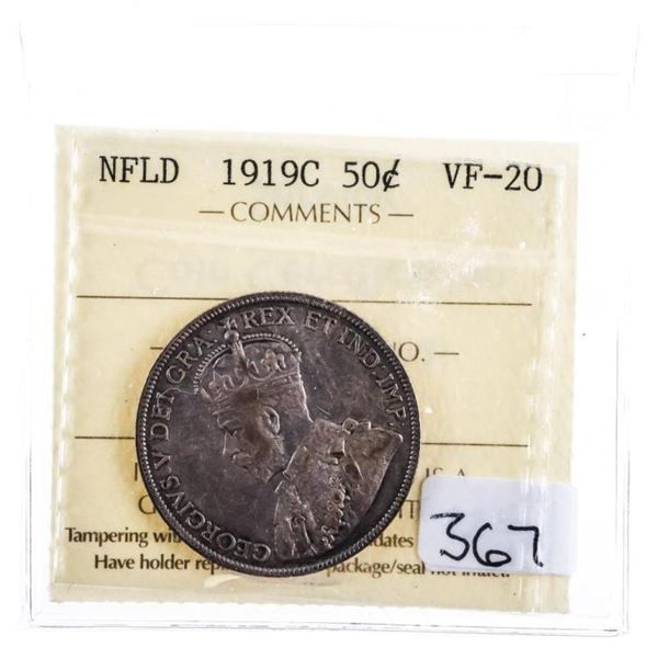 1919C NFLD Silver 50 Cents VF 20 ICCS