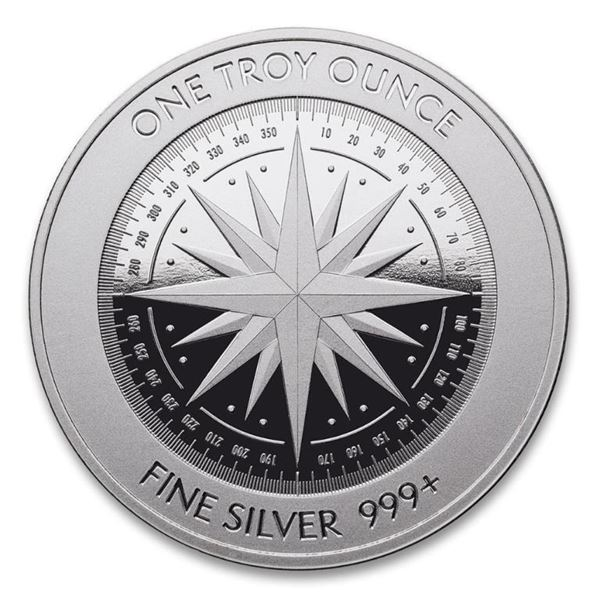 Investor Quality - .999 Fine Silver 1oz  Compass Rose with Micro Engraving. LBMA Good.
