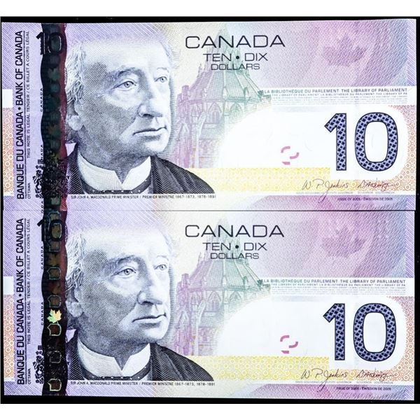 Lot 2 Canada 2005 $10 In Sequence UNC