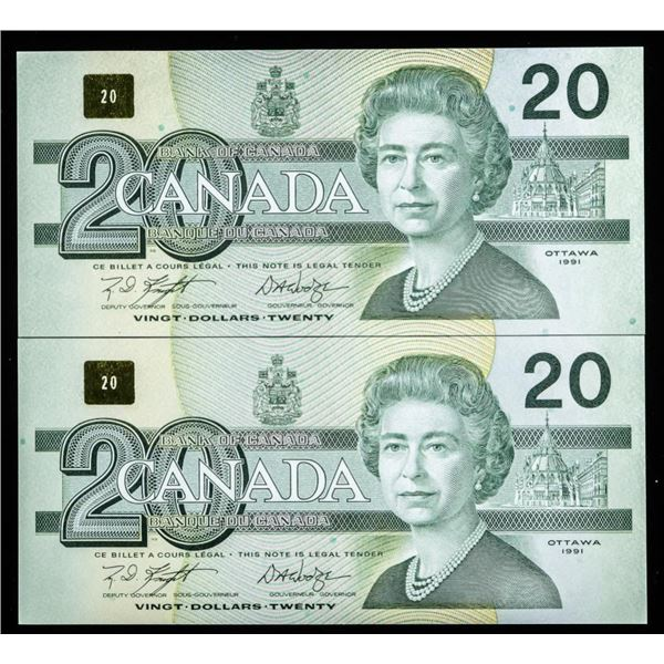 Bank of Canada Lot 2 x 1991 $20. (EWE) In  Sequence
