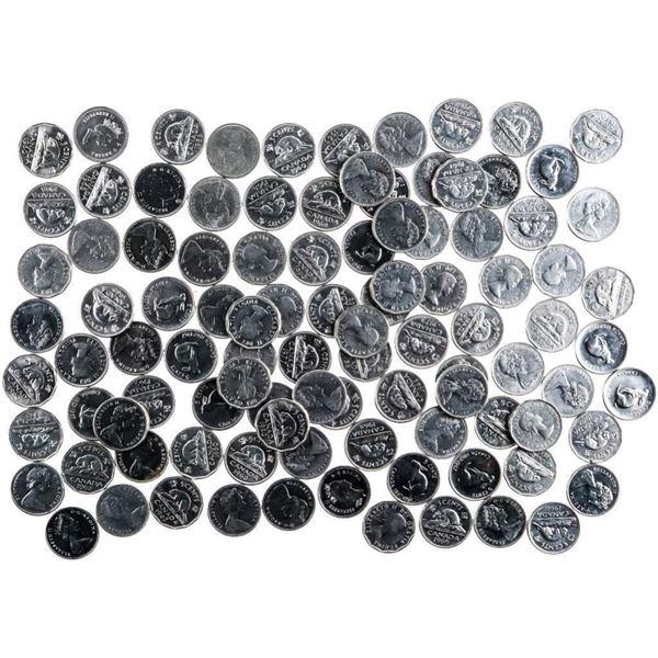 Bag/Lot 100 Canada Nickel Coins