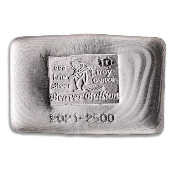 Canada's Beaver .999 Fine Silver Hand Poured  10oz Bar. (Available for Pick Up or Delivery  Within 7