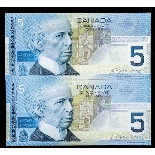 Bank of Canada Lot 2 x 2002 Gem Unc $5 -  Hockey