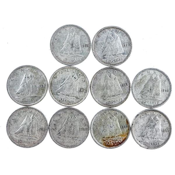 Group of 10 Silver King George VI Dimes (429)