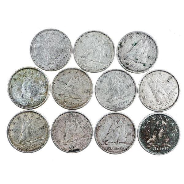 Group of 11 Canada Queen Elizabeth Silver  Dimes (368)